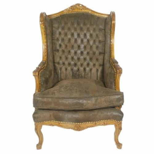 ARMCHAIR - BAROQUE STYLE GLAMOUR ARMCHAIR MAHOGANY & BROWN SUEDE # MB26